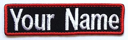 (Custom Embroidered Name Tag / Name Tape / Iron On, Sew on Patch / 1