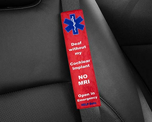 Deaf Without Cochlear Implant, No MRI, Medical Alert Seat Belt Covers | Car Seatbelt Wrap | Medical ID Tag | Personalized Seatbelt Covers | Birthday Gift by AprilLove