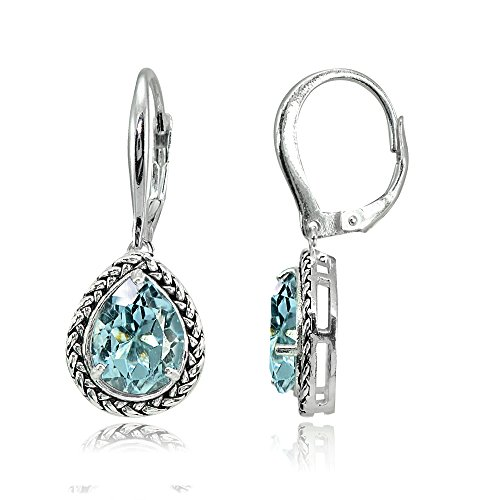 (Sterling Silver Blue Topaz Pear-Cut Oxidized Rope Dangle Leverback)