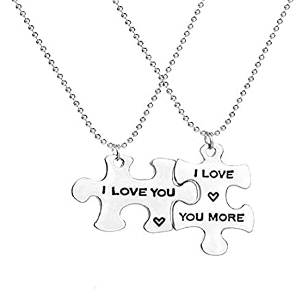 Bangle009 New 2Pcs Chic Letters Print Puzzle Tag Pendant Jewelry Couple Lover Party Necklace – Silver 41kK0I4RfgL
