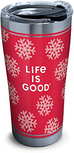 Tervis 1307427 Life is Good - Red Snowflake Stainless Steel Insulated Tumbler with Clear and Black Hammer Lid, 20oz, Silver (Life Stainless Steel)