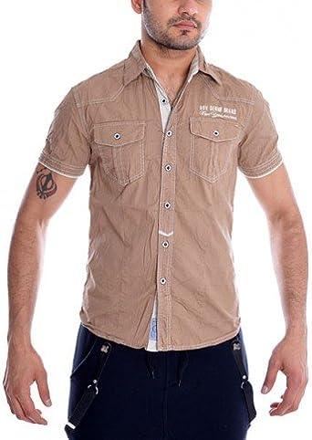 Camisa Gov Denim MC Uni Beige Marrón marrón: Amazon.es ...