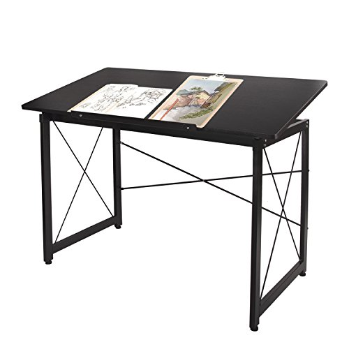 47'' Adjustable Drafting Table - Art and Craft Drawing Folding Desk - Reading & Writing Work Station, Black by Elevens