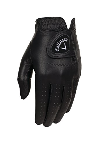Callaway Golf 2017 Men's OptiColor Leather Glove, Black, Medium, Worn on Right Hand