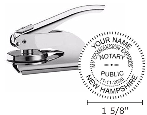 """New Hampshire Notary Seal Embosser, Pocket/Hand Model, 1-5/8"""" Impression, Silver"""