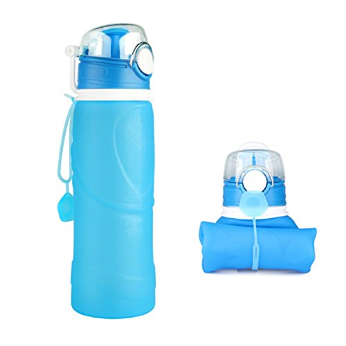 CERCHIO BPA Free Silicone Collapsible Sports Leakproof Water Bottle, 750mL/26floz with Carrying Handle, Hiking Outdoors Running Yoga Gym Traveling (Blue)