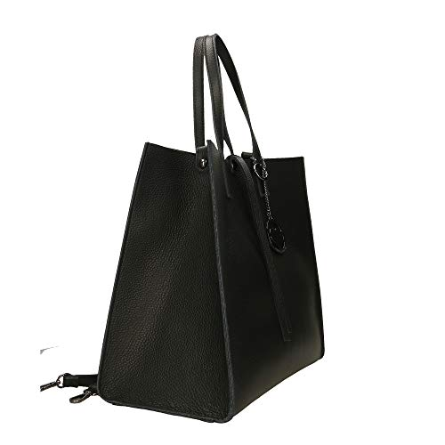main Borse Noir 33x31x18 véritable à cuir en in Italy Chicca cm Made Sac qAtBwwO