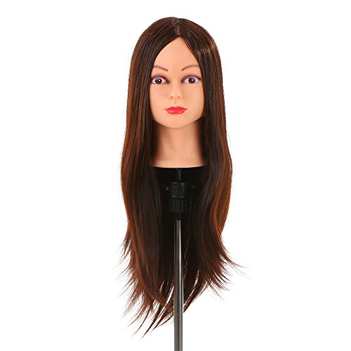 Anself Maniqui de cabeza para practica de peluquerias,30% 61cm del pelo humano,color marron oscuro(con soporte)