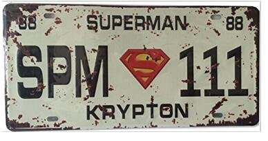 "Uniquelover Superhero Superman 111 Retro Vintage Auto License Plate Tin Sign Size 12"" X 6""inches,a Two-sided Postcard Designed By Smile Buy Is Included"