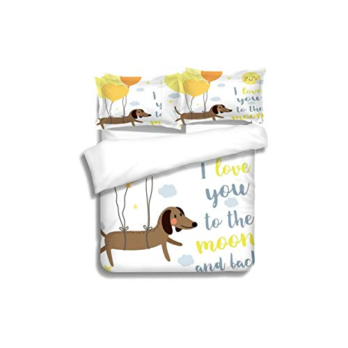 VROSELV-HOME Full Queen Duvet Cover Sets,I Love You Cute Dog with Balloons and Hearts Sun Clouds Puppy Baby Best Friends Yellow Cocoa Bedding Set for Teen 3PCS ()
