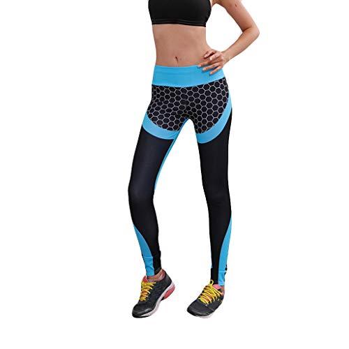 CCatyam Yoga Pants for Women, Trouser Print Fitness High Waist Tight Sports Running Sexy Fashion Blue