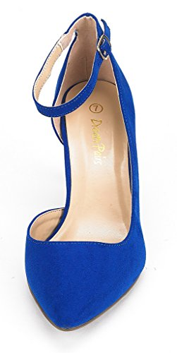 Rêve Paires Womens Idéal Robe Talon Bas Pompe Chaussures Bleu Royal