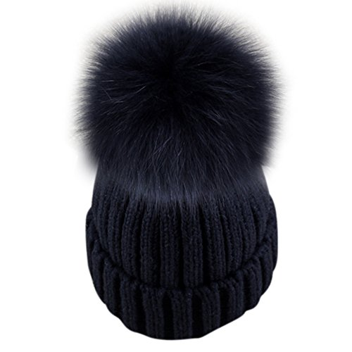 Dikoaina Womens Girls Knitted Fur Hat Real Large Silver Fox Fur Pom Pom Beanie Hats (Black with black pom)