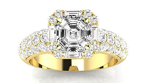 14K Yellow Gold 2.54 CTW Designer Popular Halo Style Baguette And Pave Set Round Diamond Engagement Ring w/ 1.74 Ct GIA Certified Asscher Cut D Color SI1 Clarity Center 1.74 Ct Round Diamond