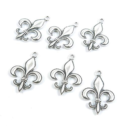 70 Pieces Antique Silver Tone Jewelry Making Charms Crafting Beading Craft E8EO7 Fleur De Lis Iris Lily