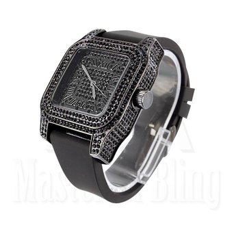 Watches For Men Techno Pave Black Gold Finish Lab Diamond Silicone Band New (Iced Out Square Watch)