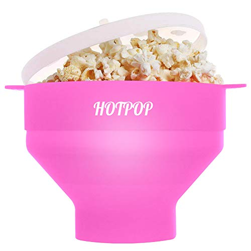 The Original Hotpop Microwave Popcorn Popper, Silicone Popcorn Maker, Collapsible Bowl Bpa Free and Dishwasher Safe- 12 Colors Available (Pink) (Machine Pink Popcorn)