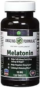 Amazing Nutrition Melatonin –10Mg Tablets - Best ChoiceofNatural Sleep Aid Supplement – Promotes CalmingandRelaxing Effect - 120Tablets Per Bottle- SuitableforVegetarian