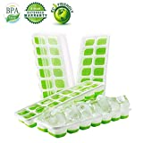 Ice Cube Trays Silicone,Ice Cube Mold Ice Tray Spill Resistant Lids 4 Pack and Flexible Reusable 14-Ice Trays Set with Lid Stackable BPA Free Dishwasher Safe Ice Cube Maker Storage Containers