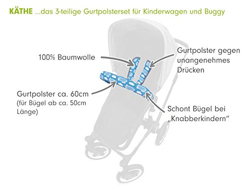 Design:ballons aqua 100/% Baumwolle Universale Gurtpolster und B/ügelpolster f/ür alle handels/üblichen Kinderwagen Buggy und Sportwagen Priebes K/äthe Gurtpolster-Set f/ür Buggy Kinderwagen