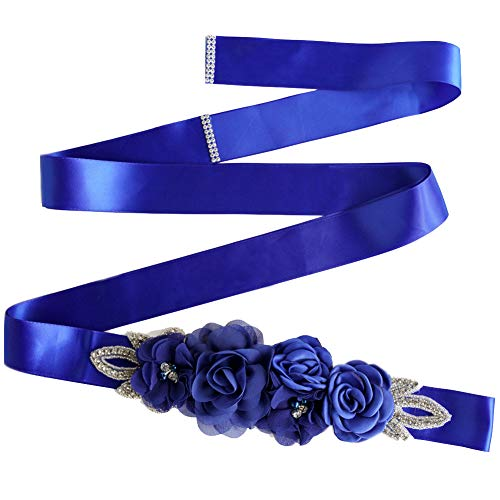 Sash Belt with Flowers Pearls Rhinestone for Wedding Bride/Baby Shower Dress (One Size, Royal Blue)