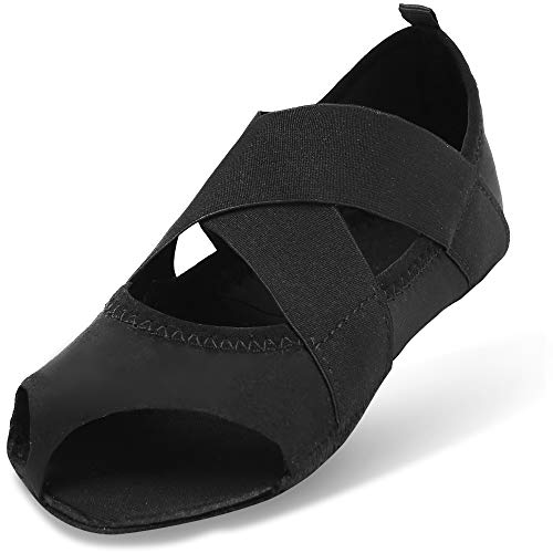Nero Bellarina JOINFREE Yoga Pilates Antiscivolo per con Mezza Punta Scarpe Donna Balletto Barre A5zq7r5