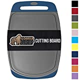 GORILLA GRIP Original Reversible Cutting Board, 3 Piece Set, for Kitchen, BPA Free, Easy Grip Handle, Dishwasher Safe, Non Porous, Boards are Extra Large and Thick, Juice Grooves