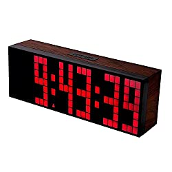 BestOpps Digital Large Big Jumbo LED Snooze Wall Desk Alarm Clock with Thermometer Calendar Indoor Clock (Red)