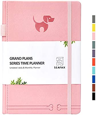 """Undated Daily Planner-Agenda Book, Hourly/Day/Weekly/Monthly Planner, Personal Organizer, to-Do List- 240 Pages 5.8""""x8.2"""" A5 - Leather Hardcover, ..."""