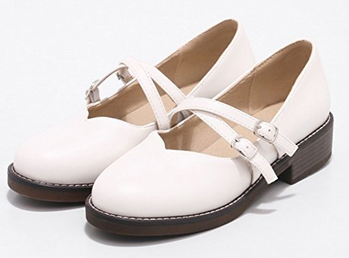Heel Chunky Shoes Aisun Round Womens White Pumps Toe Low Jane Strap Dressy Buckled Cute Comfort Mary AwqTv1AS