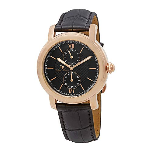 Lucien Piccard Men's 'Spiga' Quartz Stainless Steel and Leather Watch, Color:Black (Model: LP-40026-RG-01)
