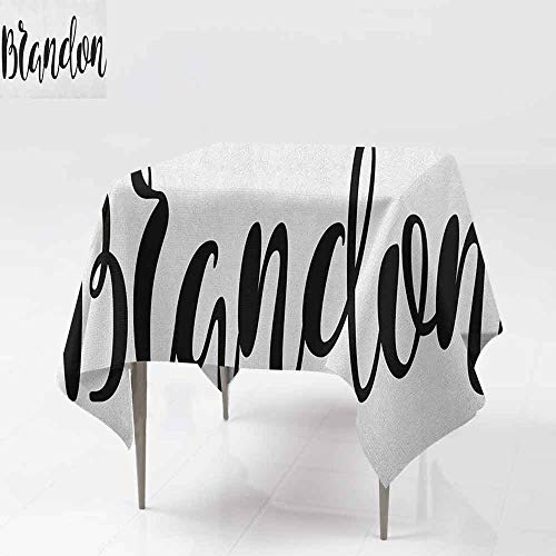 SONGDAYONE Decorative Square Tablecloth Brandon Widespread Name Design with Monochrome Artistic Letters Cursive Font Pattern Wrinkle Free Black and White W60 xL60