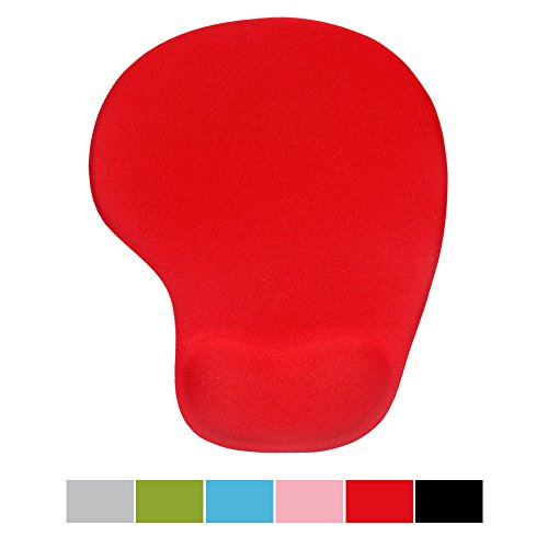 Office Mousepad with Gel Wrist Support - Ergonomic Gaming Desktop Mouse Pad Wrist Rest - Design Gamepad Mat Rubber Base for Laptop Comquter -Silicone Non-Slip Special-Textured Surface (05Red)