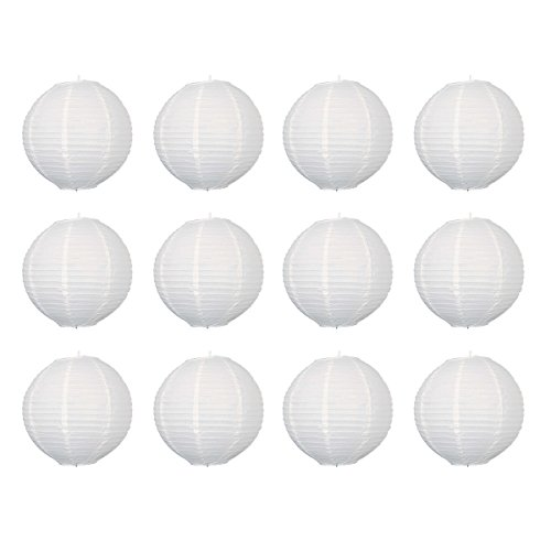 12pcs 12-inch Round Paper Lanterns with Wire Ribbing - 1