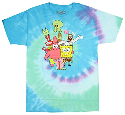 Officially Licensed Spongebob Squarepants The Whole Gang Tie-Dye Men's T-Shirt (X-Large) ()