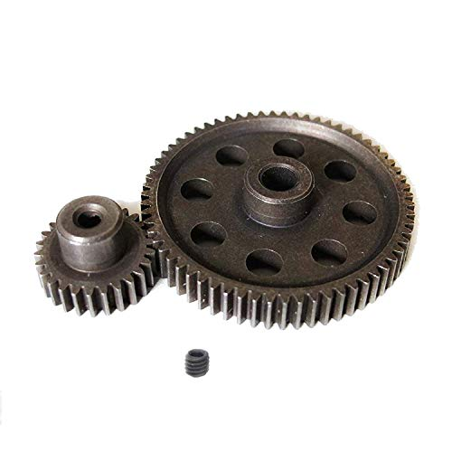 ShareGoo RC 11184 Spur Differential 64T Steel Metal Main Gear & 11176 Pinion 26T Motor Gear,Replacement Gear Combo for Redcat Volcano EPX HSP 1/10 Monster Truck Car (Metal Differential Gear)