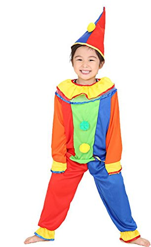 Cute Rainbow Clown Costume Kids Halloween Dress-up Costumes,Style A,X-Large (Clown Makeup Styles)
