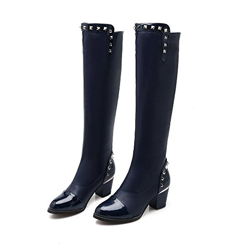 Blue Patent Womens Knee Boots Thick High Heels the Boots Thigh Over Stretch Leather High AIWEIYi fpaw6q4q
