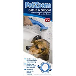 Pet Zoom Bathe N\' Groom Indoor Outdoor Dog Washer and Grooming System with 4 Foot Hose and Three Connectors