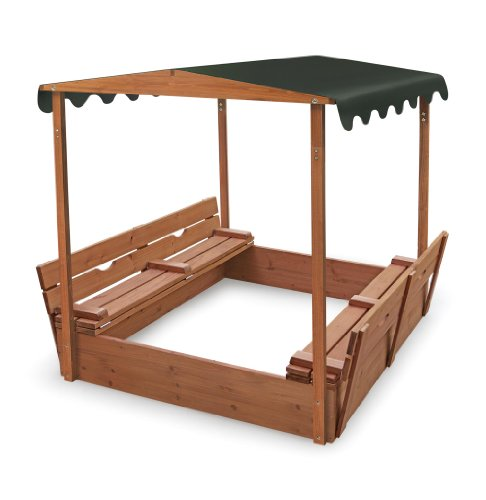 Bountiful Box (Badger Basket Covered Convertible Cedar Sandbox with Canopy and Bench Seats)