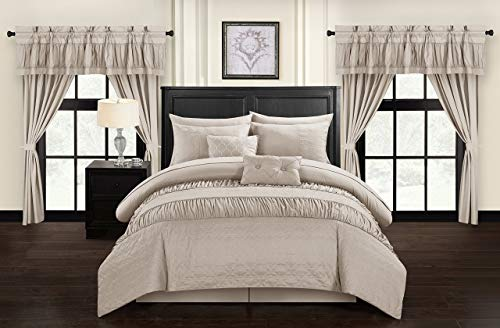 Chic Home Mykonos 20 Piece Comforter Set, Queen, Taupe ()
