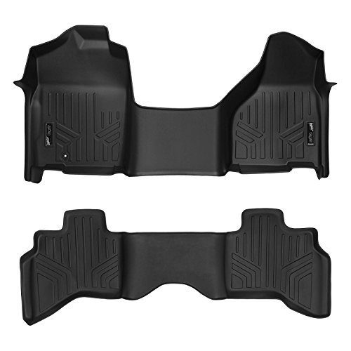 2009 Black 1st Row - SMARTLINER Floor Mats 2 Row Liner Set Black for 2009-2012 Dodge Ram 1500 Quad Cab with 1st Row Bench Seat and Front Single Floor Hook