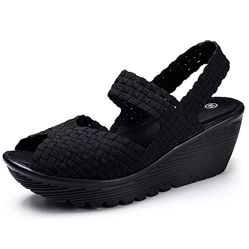 Wedge Sandals for Women Slingback Comfy Summer Open Toe Platform Walking Shoes Momery Foam All Black 6 US(YL533quanhei36)
