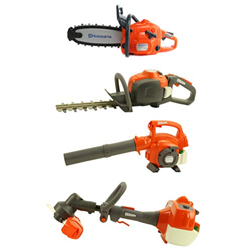 Husqvarna Kids Toy Play Set Chainsaw + Hedge Trimmer + Leaf Blower + Weed Eater ()