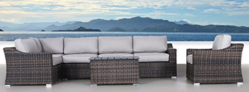 Century Modern Outdoor Marina Collection Patio Furniture Sofa Garden, Sectional Furniture Set Resort Grade Furniture. No Assembly Required CM-5909 7 Piece Conversation Set , Marina Brown