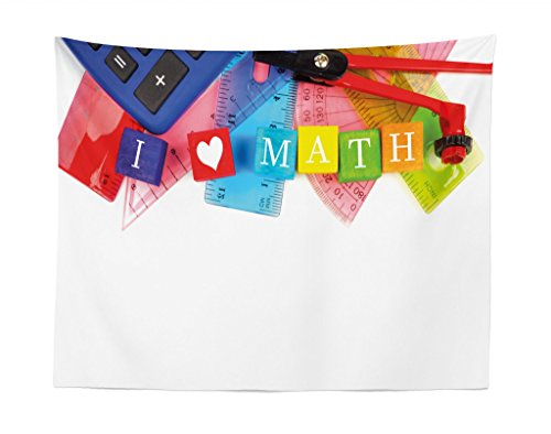 Lunarable Mathematics Classroom Tapestry, I Love Math Theme Objects Heart Icon Calculator Compass and Ruler, Fabric Wall Hanging Decor for Bedroom Living Room Dorm, 28 W X 23 L Inches, Multicolor