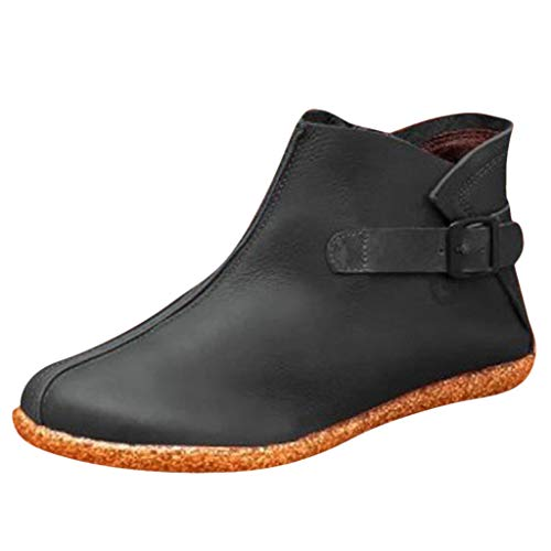 ANJUNIE Womens Flats Comfortable Boot Round Toe Zipper Low-Heeled Leisure Shoes Ankle Booties