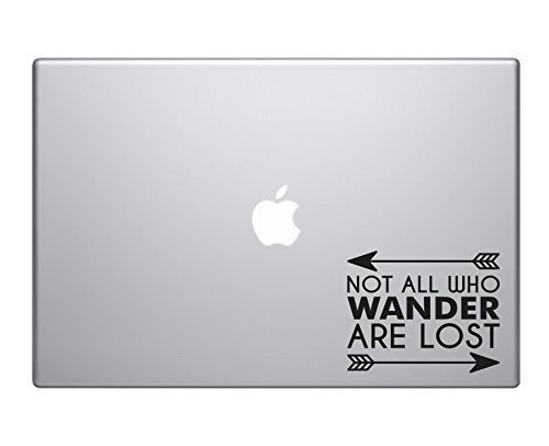 Not All Who Wander Are Lost Sticker Decal MacBook Pro Air 13 15 17 Laptop Sticker Vintage Inspirational Text Outdoor hiking Camping Sticker