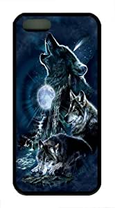 iPhone 5S Case,Bark At The Moon Wolf TPU Custom iPhone 5/5S Case Cover Black