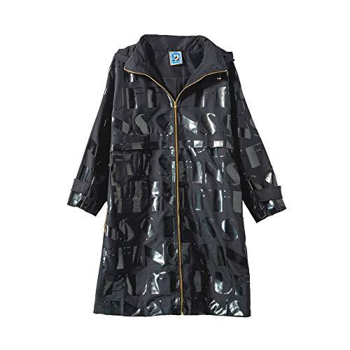 URLAZH Womens Embroidered Hoodie Coat Lightweight Trench Rain Jacket Windbreaker Longline Warm Parka Coat Black